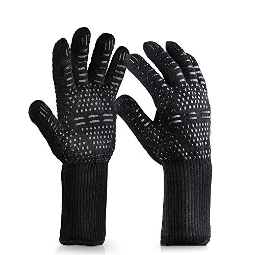Acmind BBQ Gloves, Extreme Heat Resistant Gloves - Up to 1472 ℉/ 800 ℃ Oven Gloves Set for BBQ, Grill, Baking, Kitchen, Cooking, Welding (Black, 1 Pair)