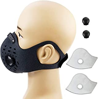 Cycling Sports Running Outdoor Activated Carbon N99 Filter Dust Anti Pollution Anti Pollen Allergy Filtration Exhaust Gas Mask Mouse-Muffle Ski Training Facemask Bike Half Face Fitness Bicycle Smog