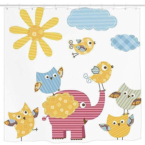N\A Vivero, Animales Felices Diseño Colorido Nubes de Sol Elefante Lindo Aves y búhos, Caléndula Rosa Bebé Azul Cortina de Ducha Impermeable Impermeable