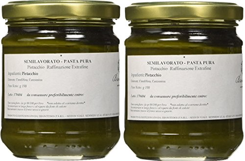 Brontedolci - 2 Vasetti - Pasta di Pistacchio Puro - 100% Frutto - 2 x Gr. 190