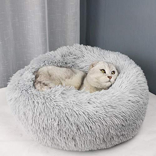 DAPAIZI Anti-ångest hundbädd mysig husdjur hundbädd plysch gosig mjuk, hundbädd munk säng tvättbar rund päls munk husdjurssäng (grå)