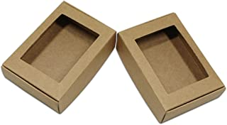 30Pcs Brown Kraft Paper Window Box Blank DIY Small Gifts Wrapping Boxes Jewelry Making Crafts Handmade Soap Supply Packing Box with No Cellophane Cover Reusable (9.4x6.2x3cm (3.7x2.4x1.2 inch))