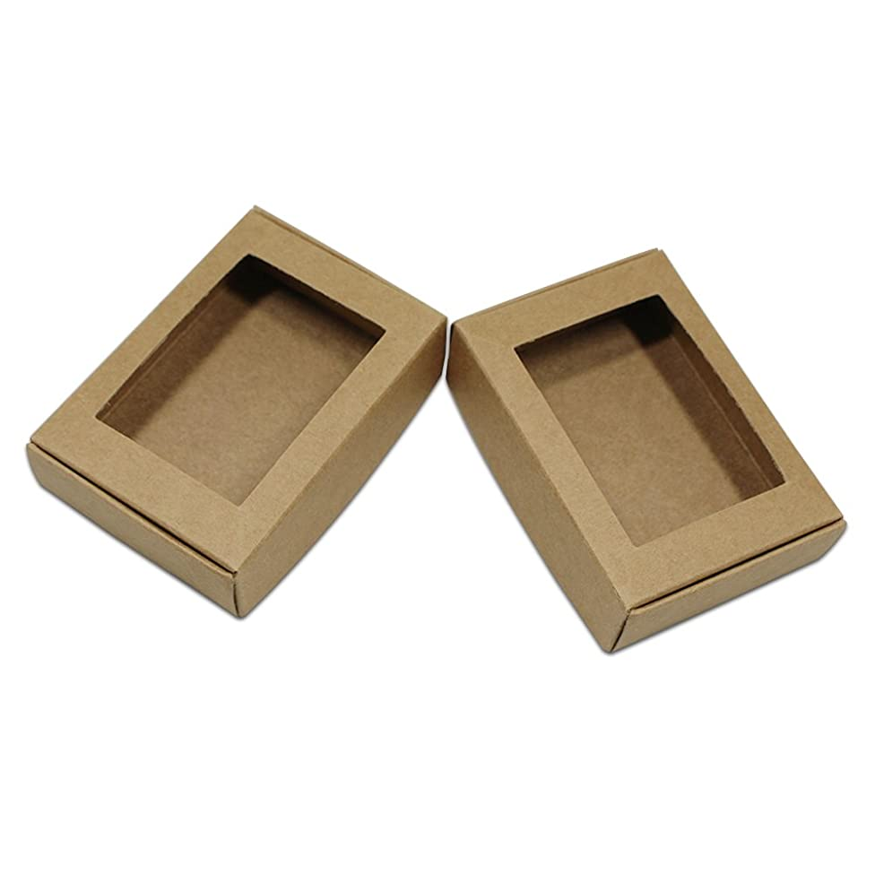 Visible Kraft Paper Gift Wrapping Boxes Merchandise Take Out Container Jewelry Necklaces Gift Favor Cardboard Box Candy Chocolate Food Storage Cake Pack (50, 3.7x2.4x1.2 inch (1.96x1.57 inch Window)