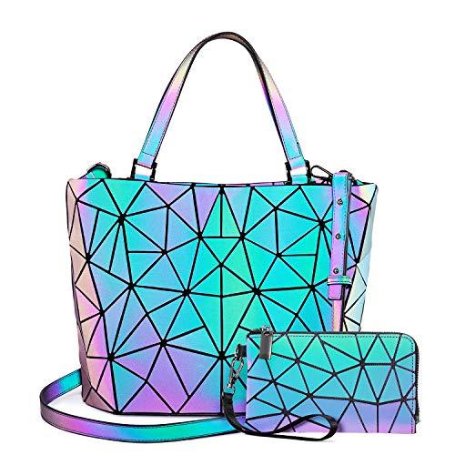 Geometrische leuchtende Geldbörsen und Handtaschen für Damen, holografisch, reflektierend, Crossbody-Tasche