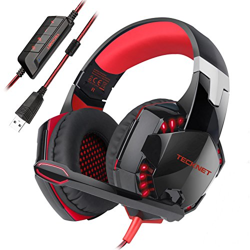 TECKNET USB Gaming Headset, Wired 7.1 Channel Surround Sound USB PC Computer Gaming Headset Over Ear Headphones with Microphone, Volume Control and LED Light