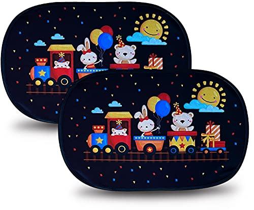 HECKBO Parasol Autoadhesivo para Coche - protección Solar para niños (2 Piezas) | Los animales en el tren | 48x31cm | protección solar para ventanillas de coche | con Bolsa Incl