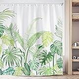 Fowocu Grünes tropisches Duschvorhang-Set, Pflanzen-Dschungel-Palmblatt-niedliche Duschvorhänge für Badezimmer-Dekor, moderner Stoffstoff, Badezimmervorhänge