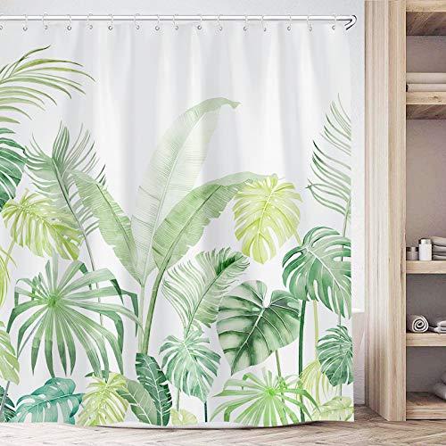 Fowocu Green Tropical Shower Curtain Set, Plant Jungle Palm Leaf Cute Shower Curtains for Bathroom Decor, Modern Fabric Cloth Bathroom Curtains