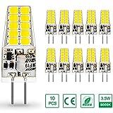 Ampoule LED G4 12VAC/DC, Auting Blanc Froid 6000k 3.5W 400Lm, Ampoules d'éclairage équivalent à 35W Halogène, Non dimmable,10 pièces