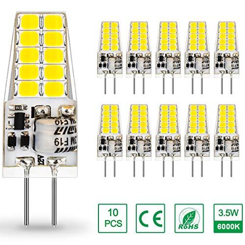 AUTING G4 LED Lampen 12V AC/DC,3.5W LED G4 Birnen 6000K Kaltweiß 400lm, Ersatz für 30W Halogenlampen,Kein Flackern Nicht Dimmbar 360° Lichtwinkel,10er Pack