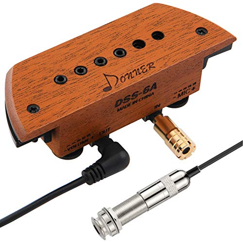 Donner Acoustic Guitar Pickup, DSS-6A Guitar Pickups Active Mahogany Soundhole Pickup with Mic Adjustable Heads Humbucker for Acoustic Guitar