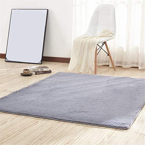 CAMAL Alfombras, Cuadrado Lavable Material de Lana de Seda Artificial Alfombra Decorativo Sala de Estar y Dormitorio (120_x_120_cm, Gris)