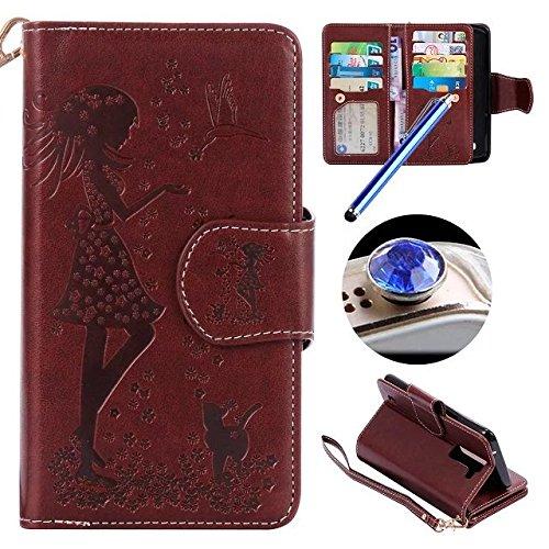 [LG K8 ] Cuero Funda,LG K8 Folio Caja de Cuero Leather Wallet Case, ETSUE Elegante Flores en Relieve Gato y Belleza Niña Patrón Caja Funda de Telefóno para LG K8 con 9 pieza Ranura para Tarjeta + 1 x La horca cuerda + 1 x Azul Stylus Pen + 1 x tapón anti polvo (colores aleatorios) - Gato chica,Marrón