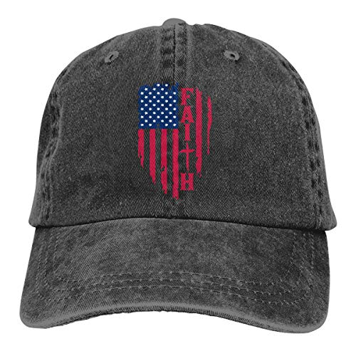 Waldeal Women's Adjustable Distressed American Flag Hat Faith Washed Baseball Cap Black
