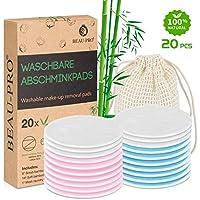Discos Desmaquillantes de bambú reutilizables | 20 Almohadillas Maquillaje de algodón de bambú orgánico lavables con bolsa de lavandería, Ecológico/Cero Residuos/Para todo tipo de pieles