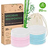 Abschminkpads Waschbar | 20 wiederverwendbare Bio-Bambus & Baumwolle Wattepads mit Wäschesack | Perfekt zum Reinigen von Gesicht und Augen | Umweltfreundlich/Zero Waste/Für alle Hauttypen