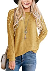 MEROKEETY Women's Long Sleeve Waffle Knit Sweater Crew Neck Solid Color Pullover Jumper Tops Mustard