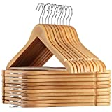 AMKUFO 24 Pack High-Grade Wooden Suit Hangers with Non Slip, 17.5 Inch Premium Solid Wood with 360° Swivel Hook, 24 Free Clothes Hanger Connector Hooks for Space Saving (Natural)