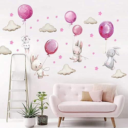 PMSMT Acuarela Rosa Globo Conejo Nube Pegatinas de Pared para niños bebé habitación Infantil decoración de la Pared calcomanías Regalos para niños y niñas PVC