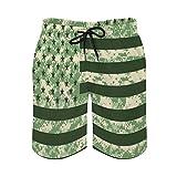 herbeier Men's Swim Trunks Camouflage USA Flag with Pockets Quick...