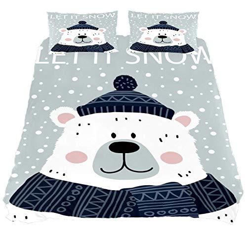 267 JlOn Microfiber Kid Bedding Set Winter Polar Bear Pattern 3 Pieces JlOn Microfiber Duvet Cover Sets Boys and Girls King