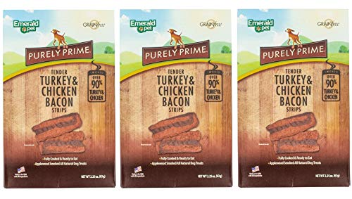 Emerald Pet 3 Pack of Tender Turkey and Chicken Bacon Strips Dog Treats, 2.25 Ounces Each, Grain-Free, Made in The USA