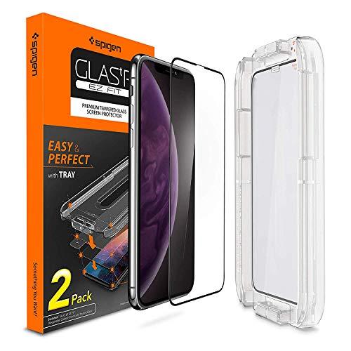 Spigen, 2Pezzi, Pellicola Vetro Temperato iPhone XS Max, 6.5 Pollici, Ez Fit, Kit di Installazione Incluso, Custodia Compatibile, Compatibile con Face ID, Protezione per Schermo iPhone XS Max