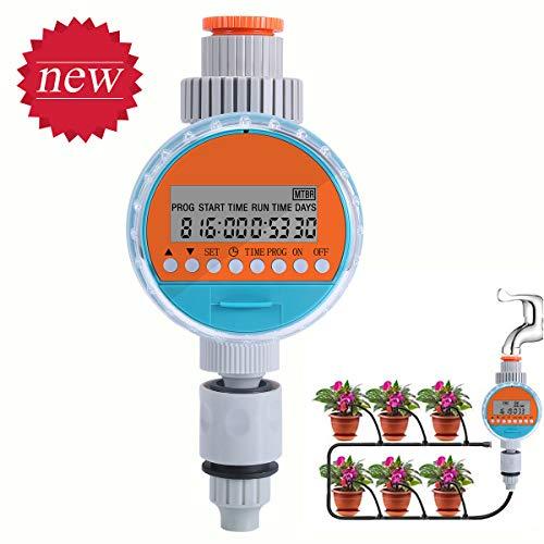 ZOTO Automatische Bewässerungsuhr, Wasserdicht Bewässerungscomputer mit LED Display Digital, Wasser Timer mit Programmspeicherfunktion für GartenGewächshaus Landwirtschaft