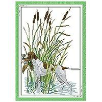 クロスステッチ刺繍キット 図柄印刷 初心者 ホームの装飾 風景 刺繍糸 針 ホームの装飾 - 川の犬33x45cm(フレームレス)