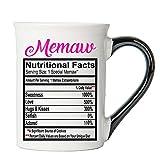 Cottage Creek Coffee Mug, Large Memaw Coffee Mug, 18oz Ceramic Food Label Memaw Coffee Cup [White]