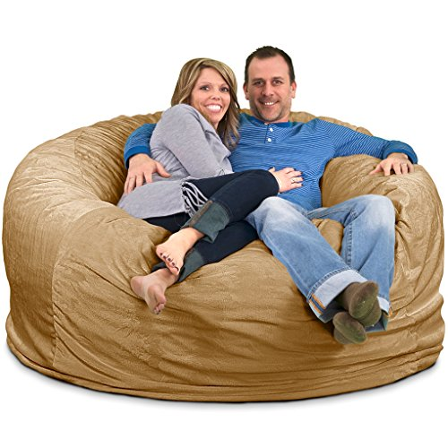 ULTIMATE SACK Bean Bag Chairs in Multiple Sizes and Colors: Giant Foam-Filled Furniture - Machine Washable Covers, Double Stitched Seams, Durable Inner Liner. (6000, Camel Suede)