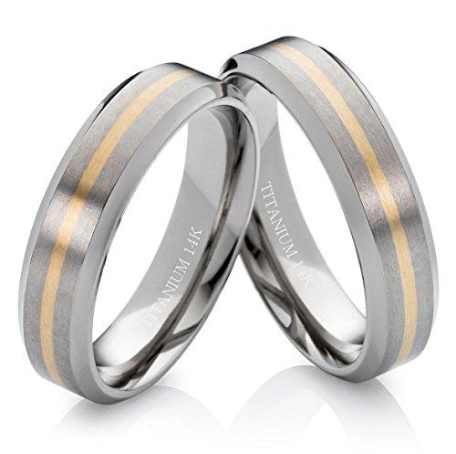 Eheringe Verlobungsringe Trauringe aus Titan und 585 Gold 6mm ohne Stein mit Lasergravur TG173