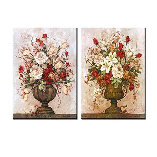 woplmh Moderne bloemenfoto's canvasdruk Wandkunst Modulaire schilderij op canvas Spuiten decoratieve afbeeldingen 2 stuks-60x80cmx2Pcs (geen lijst)