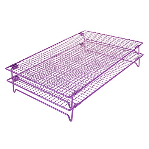 Comfecto Cooling Rack Stainless Steel, 2 pcs 17 x 11 inch Oven Safe Stackable Cookie Racks fit Half Sheet Pan for Cake Decorating Roasting Grilling Baking with 4 Stable Legs, Cookies Recipe Included