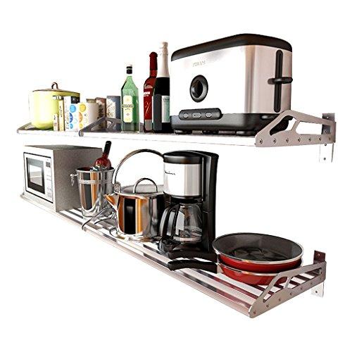 WWWANG 304 Acero Inoxidable Horno de microondas Estante de la Cocina montado en la Pared de Cocina Almacenamiento de Pared bastidores Ahorro de Espacio Almacenamiento pequeño, práctico y portátil