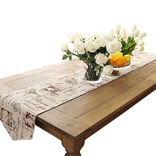 Ethomes Classique Linge de maison et coton imprimé naturel Chemin de table approx 13 x 86 inches