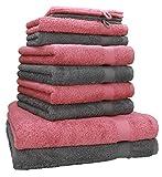 [page_title]-Betz 10-TLG. Handtuch-Set Premium 100% Baumwolle 2 Duschtücher 4 Handtücher 2 Gästetücher 2 Waschhandschuhe Farbe Altrosa & Anthrazit Grau