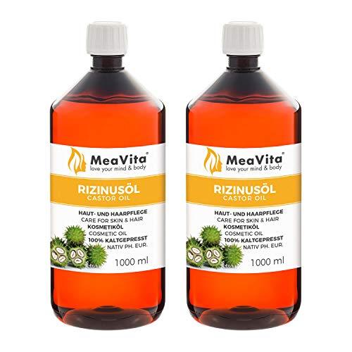 MeaVita Rizinusöl - 100{6921df654aac8447c3e0ecc57fb4a21e67cffeb65a7f5559a3705c2d67f1cf16} reines kaltgepresstes Öl, nativ Ph. Eur., 2 x 1000 ml, Wimpern Serum, Haaröl, natürliche Haarpflege