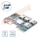 Scheda Riser PCI-E, da 1 a 4 Extender Riser PCI-E per Bitcoin Litecoin ETH Coin, Scheda Adattatore PCIe 4...