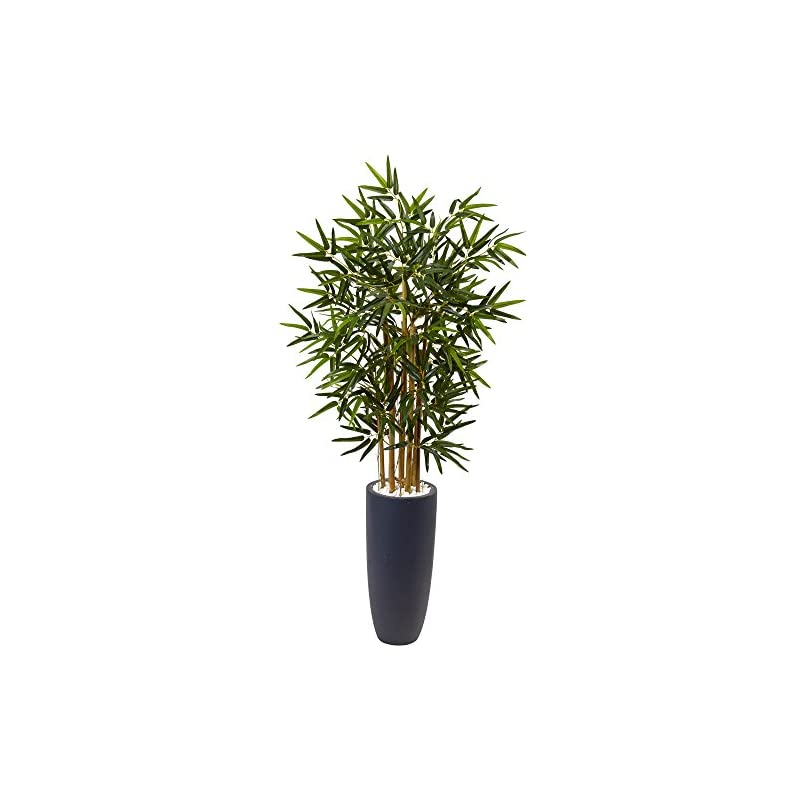 silk flower arrangements nearly natural 4' bamboo artificial tree in gray cylinder planter, green