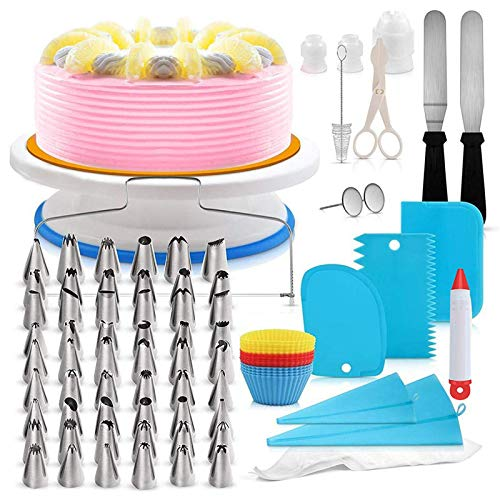 106 PCS Cake Decorating Kit, Cake Decorating Supplies Tools for Beginners,Kids and Cake Lovers, Brithday Cake Cookies Pastry Tools, With Cake Turntable, Cake Leveler & Slicer, Icing Spatula Smoother
