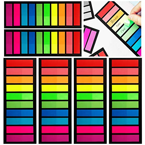 1200Pcs Colored Page Markers,6 Sets Fluorescent Sticky Tabs in 10 Primary Colors,Neon Sticky Notes Flags,Waterproof Writable Translucent Page Flags for Books,Bookmarks,Notebook,Removes Cleanly