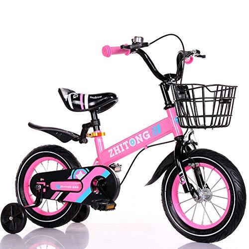 QQBB 2-9 Jahre alt Jungen und Mädchen Fahrräder, Einstellbarer bewegliches Fahrrad, 12In, 14in, 16In, 18 mit Fender Hilfsräder,B,12in