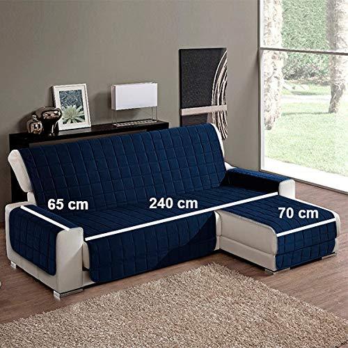 Simplicity Plus Copridivano Salvadivano idrorepellente adatto per PENISOLA (chaise longue) sia a destra che sinistra (240 cm, Blue Navy). Colori certificati OEKOTEX
