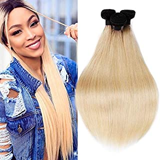 7A Brazilian Hair Dark Roots Blonde 3 Bundles 1B 613 Two Tone Ombre Blonde Straight Hair Wefts 100% Virgin Human HairExtensions(12 14 16inch)