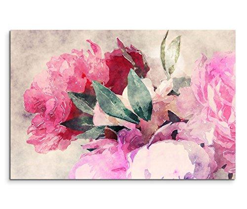 Leinwandbild 120x80cm Bild – Rosen und Pfingstrosen in Wasserfarben Optik