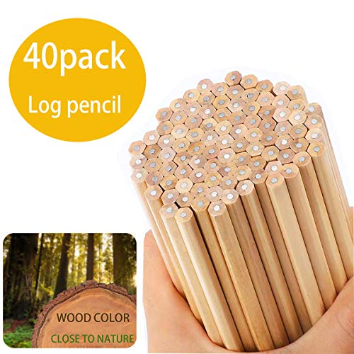 Natural wood color HB drawing sketch pencil,40 graphite wooden pencil (unpainted)