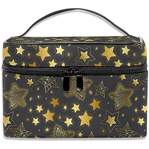 Golden-stars Make up Bag Sac À Cosmétiques Pouch Large Toiletry Organizer Travel For Women Men Girl