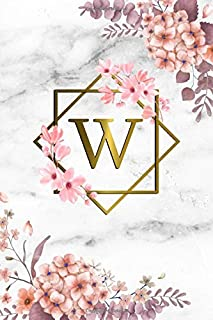 W: Cute Initial Monogram Letter W College Ruled Notebook. Pretty Personalized Medium Lined Journal & Diary for Writing & Note Taking for Girls and Women - Grey Marble & Gold Pink Floral Print