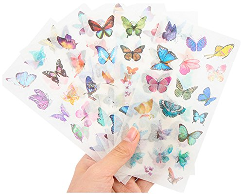 Washi Planner Sticker, Decorative Adhesive Sticker, Craft Scrapbooking Sticker Set for Diary, Album, Notebook, Bullet Journal, 12 Sheets/Pack (Butterfly)